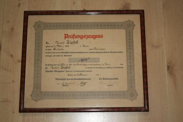 Willensstark Prüfungszeugnis Obergärtner Gera 1931, Schön Gerahmt!