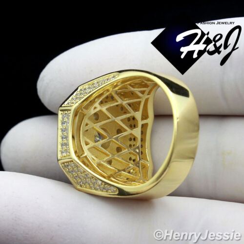 MEN 925 STERLING SILVER LAB DIAMOND ICED OUT GOLD BLING RING*GR19