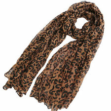 ladies women fashion brown animal leopard print scarf UK