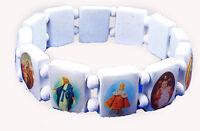 4030163 Saints Jesus White Bracelet Wooden With Beads Stretch on Sale