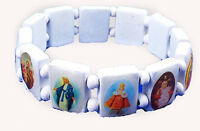 4030163 Saints Jesus White Bracelet Wooden With Beads Stretch on Sale