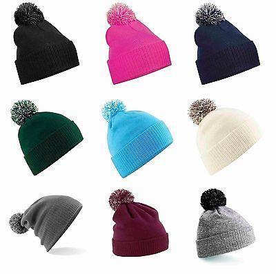 Snowstar Beanie Bobble Hat in Black Grey Navy Cream Burgundy Men Women Blank