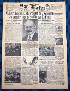 La-Une-Du-Journal-Le-Matin-11-Mai-1932-Election-Albert-Lebrun