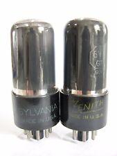Pair 1950 Sylvania/Zenith 6V6GT tubes - TV7B tested @ 82, 84, min: 46