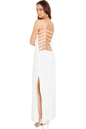 Womens Ladies Cage Back Beach Sheer Maxi Long Summer Cruise Split Cover Up Dress