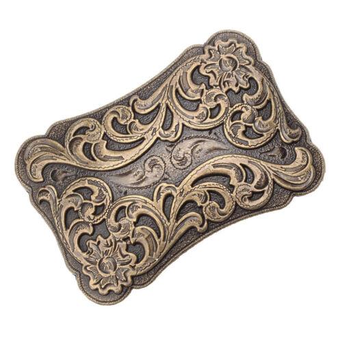 Embossed Ancient Floral Pattern Belt Buckle Vintage Rectangle Buckle