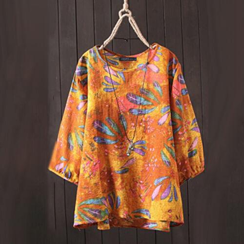 ZANZEA Damen Rundhals 3//4 Arm Tops Hemd Blume Beach Retro Lose Tee Bluse Shirts