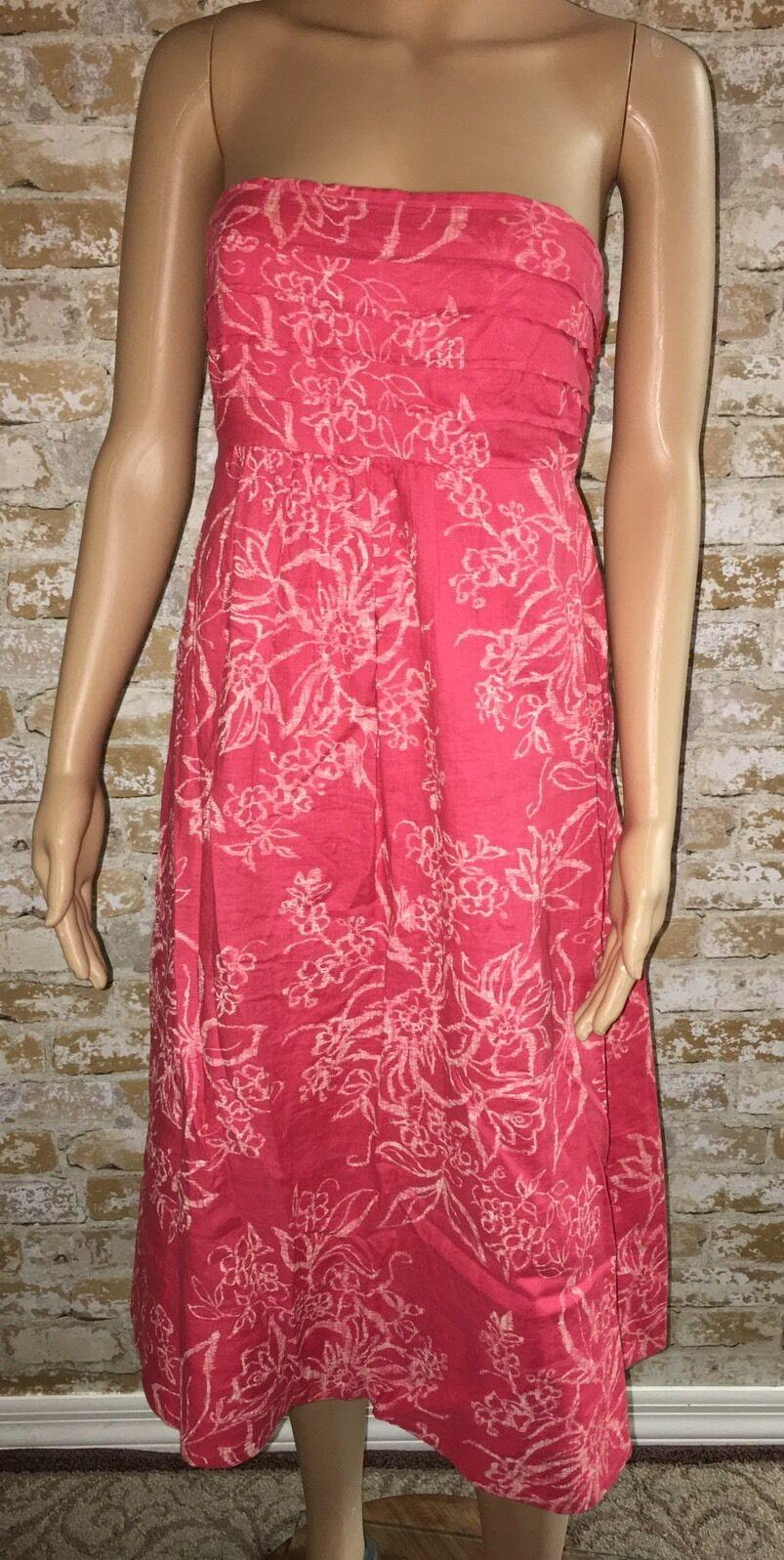 Banana Republic Size 2 Linen Sleeveless Lined Coral Dress