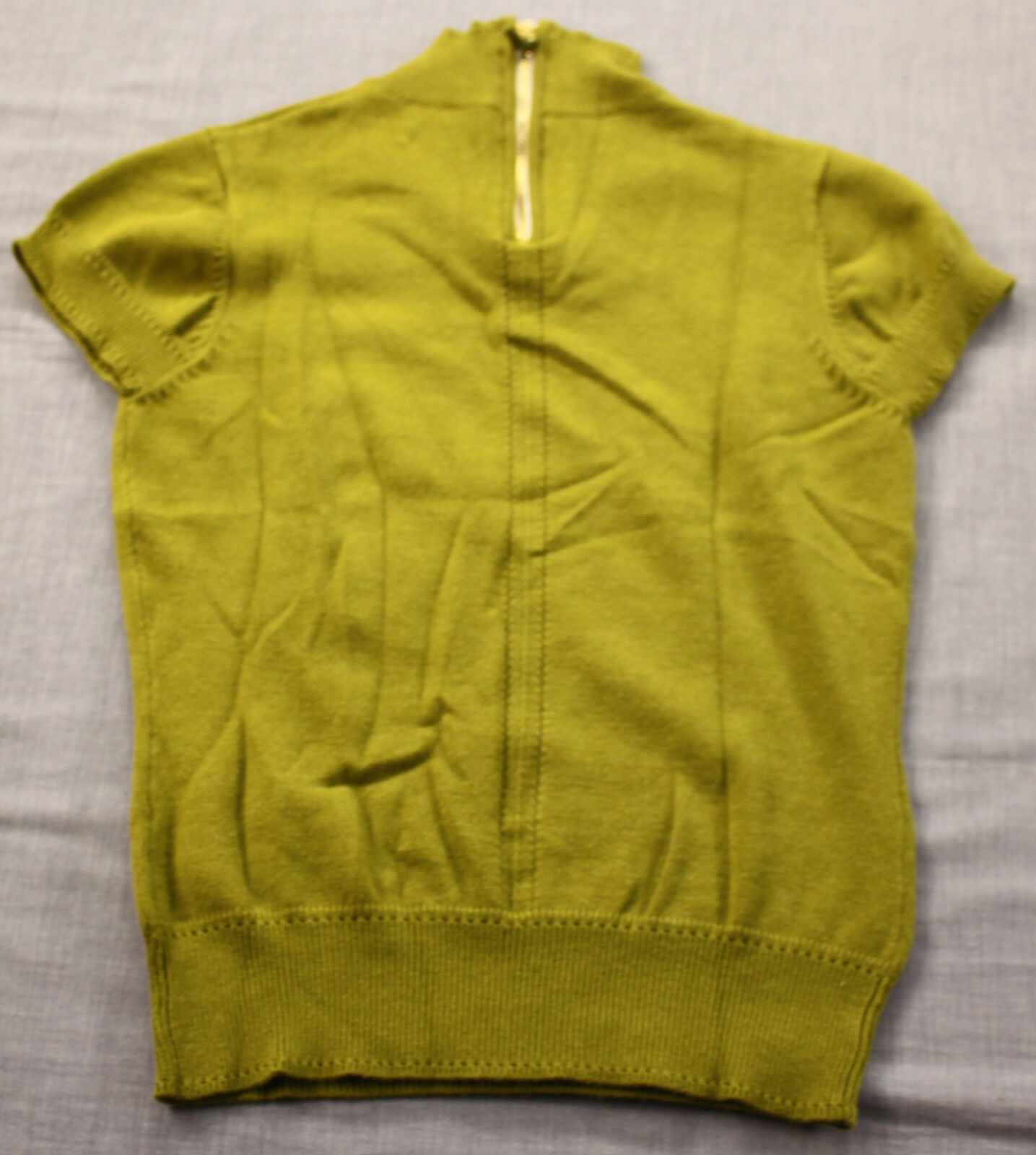 Milly of New York Womens Green 100% Cashmere 1 4 Zip SS Sweater S Small
