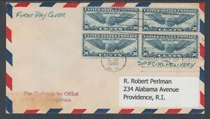 US-Sc-C24-Special-Delivery-FDC-1939-30c-Winged-Globe-Block-of-4