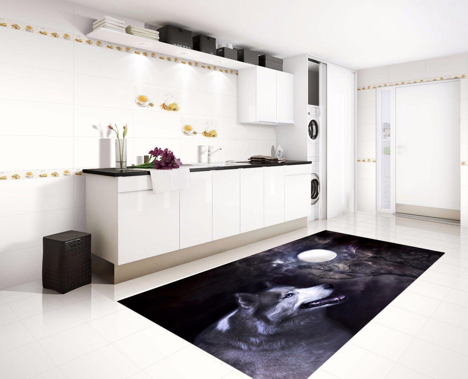 3D Wolf Moon 677 Kitchen Mat Floor Murals Wall Print Wall AJ WALLPAPER UK Kyra