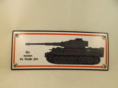 """Wehrmacht  Emailleschild Tiger I  Tigerpanzer /""""Straße frei/""""  Wittmann Normandie"""