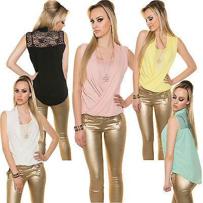 Damen 2-in-1 Top Shirt Crinkle Kette S 34 36 38 Spitze Partytop Bluse Freizeit