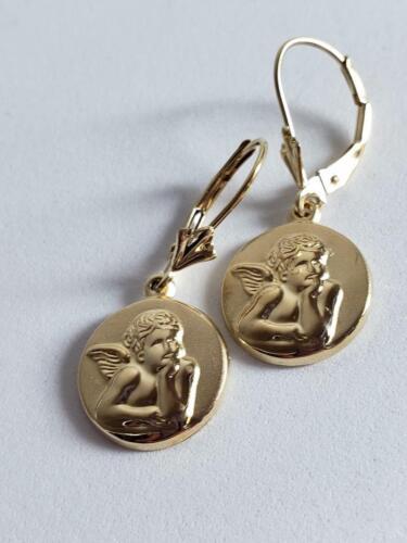 Dangle Angel Cherub Coin Hoop Earrings 14K Solid … - image 1