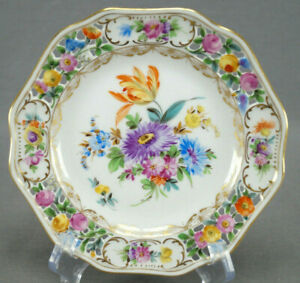 Carl-Thieme-Dresden-Hand-Painted-Reticulated-Floral-amp-Gold-Bread-Plate-C