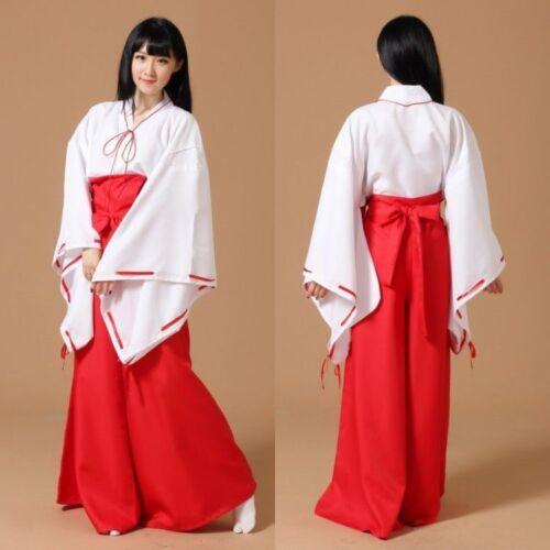 New Inuyasha Kikyo Miko Japanese Kimono Outfit Women Cospaly Costume Custom Made