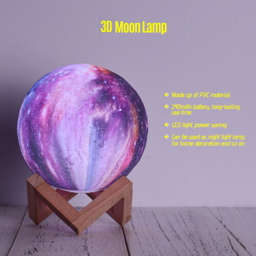 Rechargeable 3D Luna Night Light Moon Lamp Color Change TouchControl with Stand