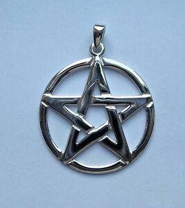 Large sterling silver pentagram pendant 30mm diameter ebay image is loading large sterling silver pentagram pendant 30mm diameter aloadofball Choice Image