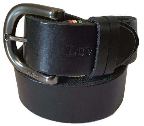 LEVI/'S CALF LEATHER BELT ENGRAVED CURVED BUCKLE /& BELT BLACK WITH MULTI COLOUR