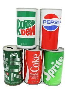 5-Vtg-Steel-Soda-Cans-7-UP-Mountain-Dew-Pepsi-Coke-Sprite