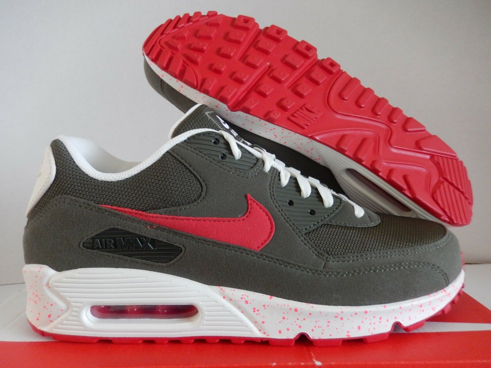 NIKE AIR MAX 90 ID SEQUOIA GREEN-WHITE-CRIMSON SZ 10.5  MESH TOE  [931902-993]