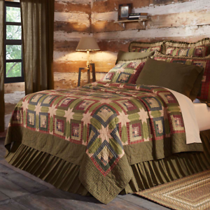 TEA-CABIN-QUILT-SET-choose-size-amp-accessories-Log-Cabin-Block-VHC-Brands