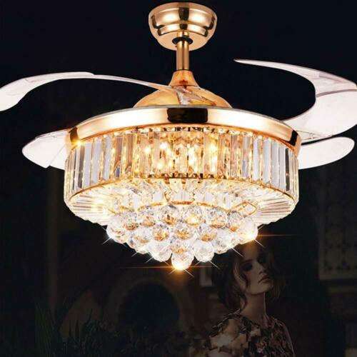 "42/"" Crystal Ceiling Fan Light LED Chandelier Crystal Acrylic Retractable Blade"