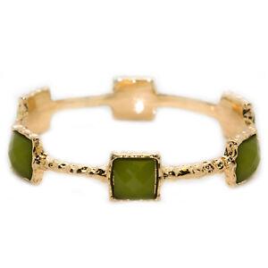 CHAMAK-Green-amp-Gold-Textured-Jeweled-Bangle-Bracelet-B5461-48-NWT
