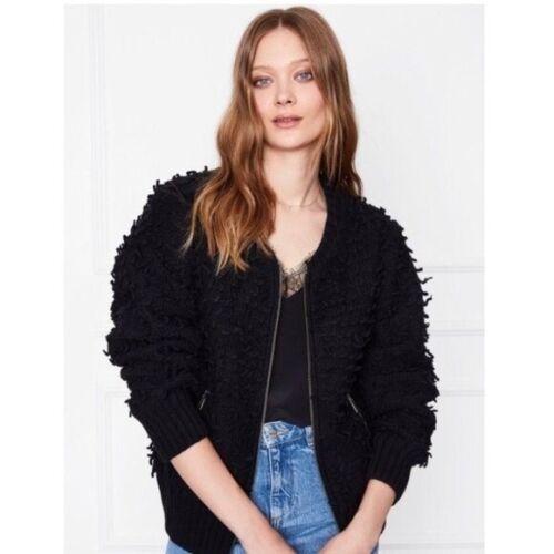 Anine Bing Knit Bomber Black Shag Jacket Zipper Si