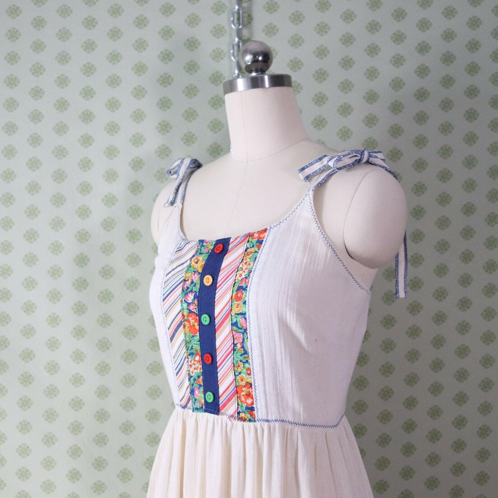vintage 60s 70s patchwork guaze maxi dress XS pra… - image 6