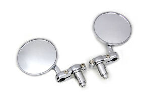 Cafe-Racer-Style-Mirror-Set-Chrome-For-7-8-034-22mm-Handlebars