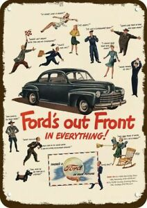 Metal Sign Vintage Look Reproduction 3 1946 Ford