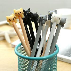 6pcs-Cute-Cartoon-Colorful-Cat-Gel-Ink-Roller-Ball-Point-Pen-Kawaii-Kids-Pens