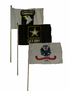 "12x18 12/""x18/"" Wholesale Lot of 6 101st Airborne Black Stick Flag wood staff"