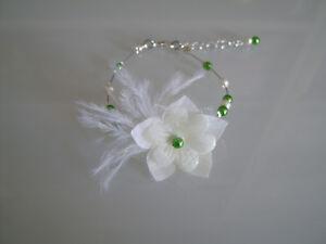 Details Sur Bracelet Vert Blanc Casse Robe Mariee Mariage Soiree Ceremonie Fleur Plume