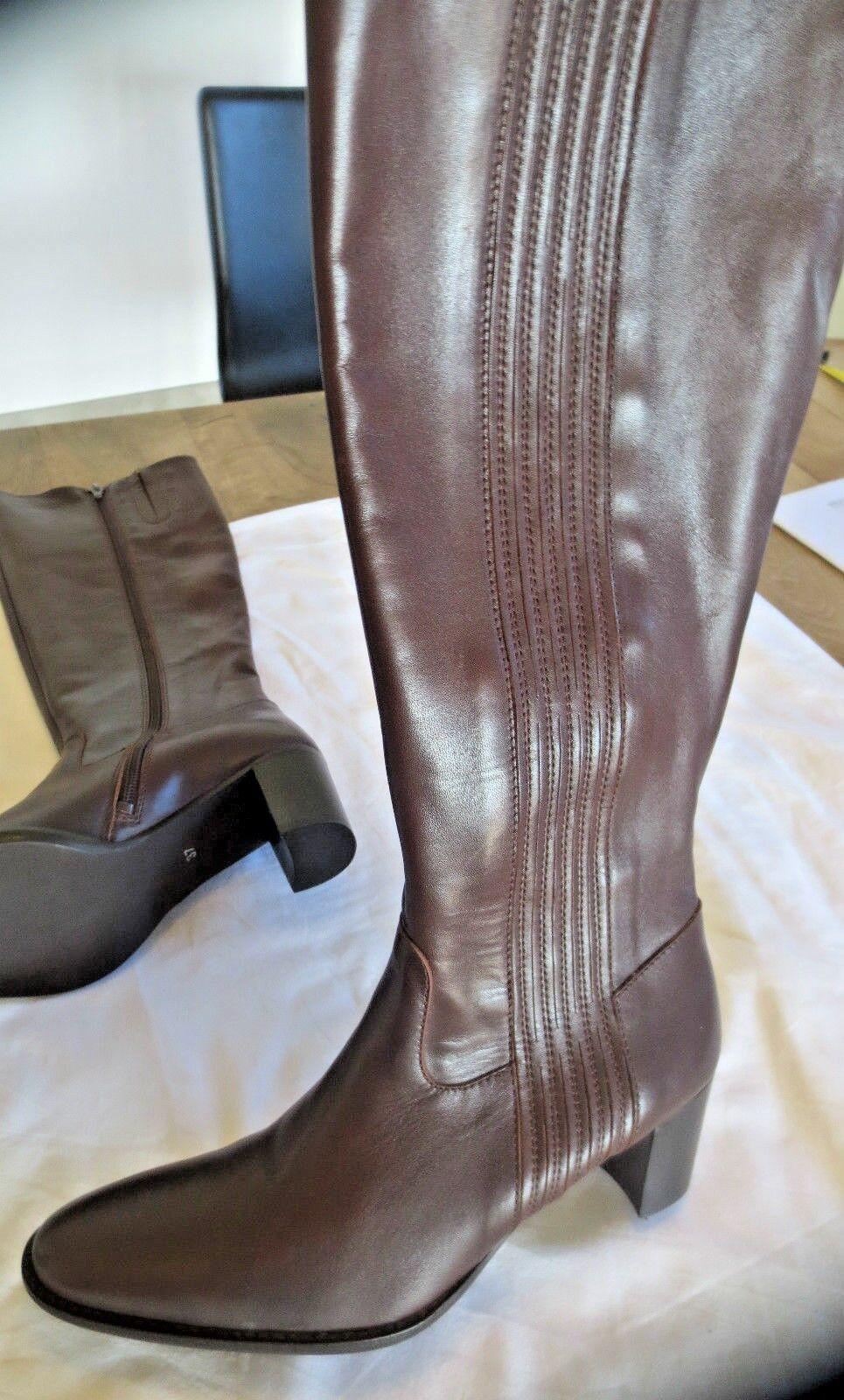 M par M Botte cuir marron elastiqué+fermetureNEUVE Valeur179E Pointures 35,36,37