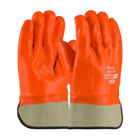 Pip Safety Procoat 58-7305 Large Hi-vis Orange Pvc Coated Gloves Insulated Cuff