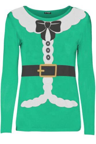 Para Mujeres Disfraz De Navidad Santa Claus Cinta Traje Damas de manga larga T Shirt Top