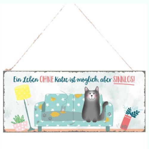 """Spruchschild Metallschild /""""Ein Leben mit Katze/"""" Türschild Schild 30x13 Deko z.H."""