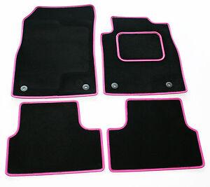 Perfect-Fit-Black-Sapp-Carpet-Car-Mats-for-Fiat-500X-2015-gt-Pink-Leather-Trim