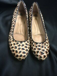 Sofft Belicia Tan/Black Leopard Print Calf Hair, Low Heel Flat Shoe Size 7M