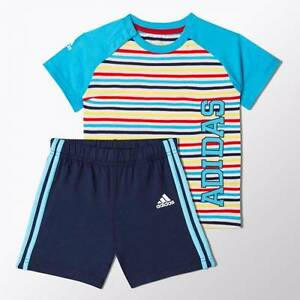 Adidas-De-Nino-Bebe-3-Raya-Shorts-amp-Top-Conjunto-Verano-Edades-3-18m