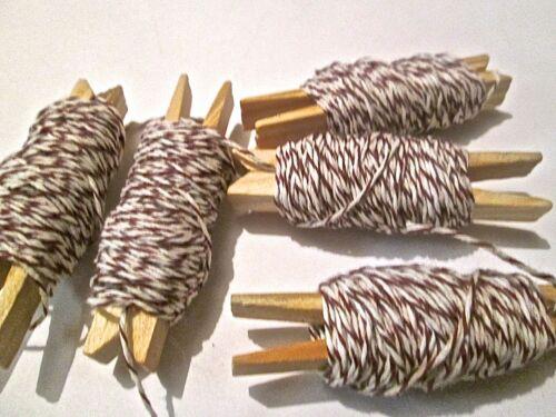 20 o 50 metros fino algodón Bakers Twine Marrón Candy Stripe de envoltura de regalo corbata de etiqueta.
