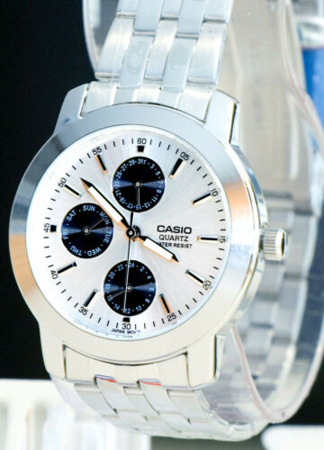1 of 1 - Casio MTP-1192A-7AD Mens Silver Steel Analog Watch Dress Watch 3 Dials New