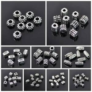 50Pcs-Antique-Tibetan-Metal-Silver-Big-Hole-Loose-Spacer-Beads-Jewelry-Making