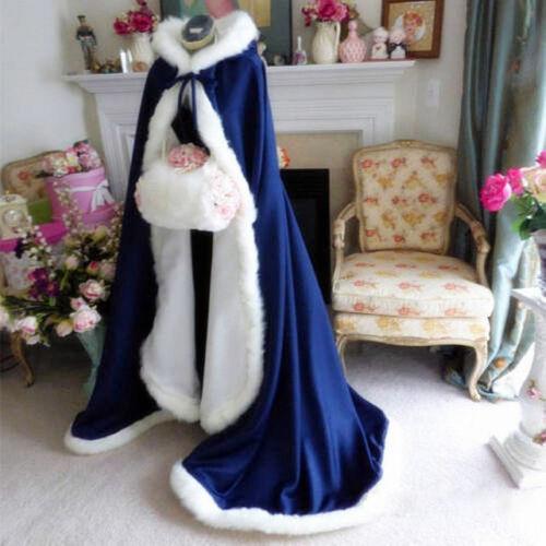 Bridal Winter Wedding Dress Hooded Cloak Cape Faux Fur Bridal Mantles Wraps C