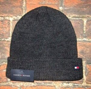 Image is loading MENS-TOMMY-HILFIGER-GRAY-CHARCOAL-BEANIE-HAT-ONE- cd461154a50
