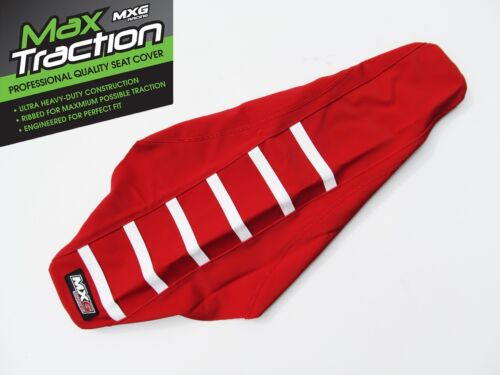 HONDA CRF250X RIBBED GRIPPER SEAT COVER RED WITH WHITE STRIPES RIBS ENDURO MXG