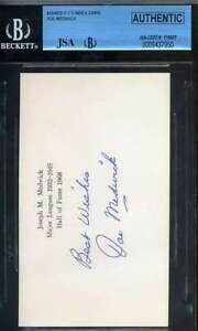 Joe Medwick Jsa Bgs Hand Signed 3x5 Index Card Authentic Autograph