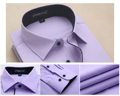 New Mens Solid Color Formal Slim Casual Long Sleeve Dress Shirts Camisas Social